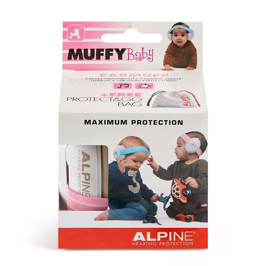 ALPINE Muffy Baby earmuff white with blue head strap