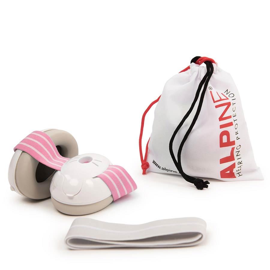 ALPINE Muffy Baby earmuff white with pink head strap